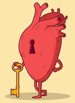 Caractère de coeur tenant une clé. concept de design coeur fermé brisé