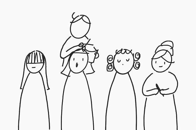Caractère de coiffeur de vecteur dessiné à la main de travail, concept de salon