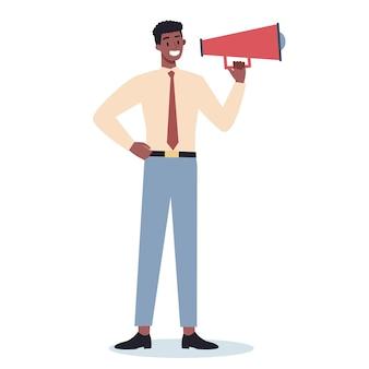 Caractère commercial debout avec mégaphone. faire une promotion spéciale avec haut-parleur. l'orateur fait une annonce. attirer l'attention des clients.