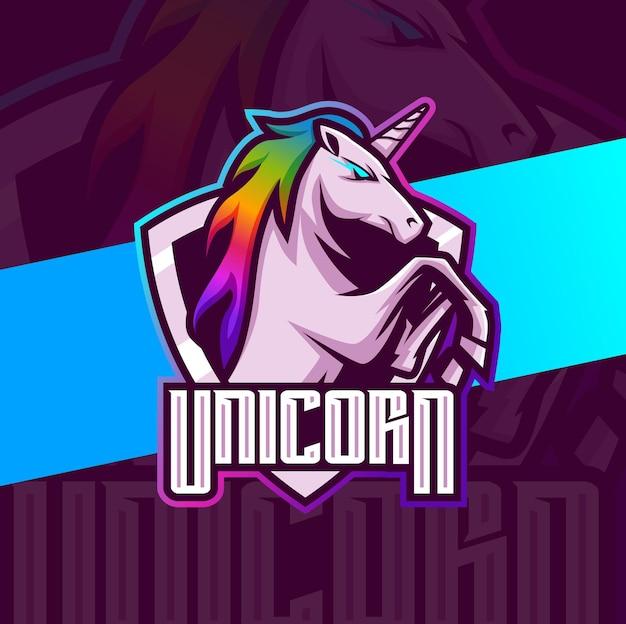 Caractère de conception de logo d'esport de mascotte de cheval de licorne pour le logo de jeu et de sport