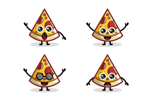 Caractère de conception de logo pizza mignon