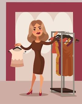 Caractère de consommateur de femme essayant une robe en tissu