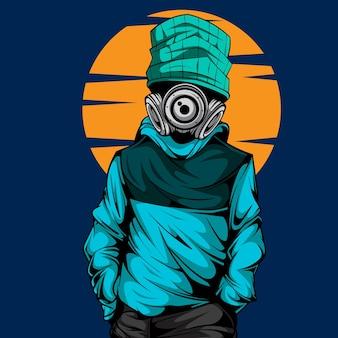 Le caractère cool avec masque à gaz
