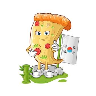 Caractère coréen de pizza. mascotte de dessin animé