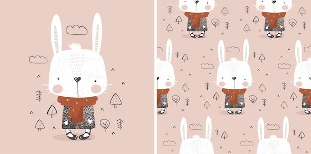 Caractère de couleur dessiné main lapin d'hiver mignon avec motif sans couturepeut être utilisé pour l'impression de t-shirt
