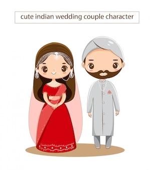 Caractère de couple de mariage indien mignon