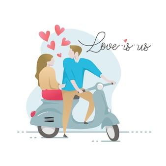 Caractère de couple romantique sur scooter avec lettrage de citation