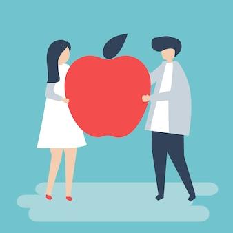Caractère d'un couple tenant une illustration de pomme