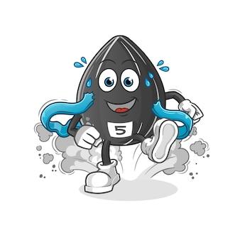 Caractère de coureur de graines de tournesol. mascotte de dessin animé