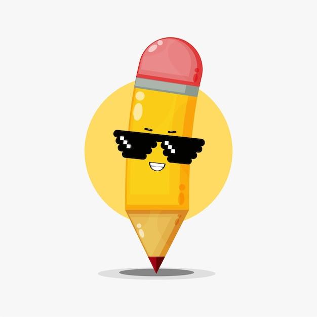 Caractère de crayon mignon portant des lunettes de pixel