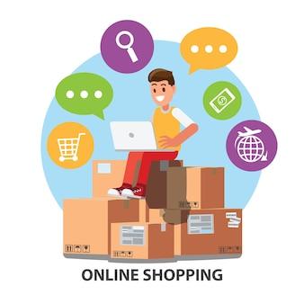 Caractère d'homme d'affaires avec e-commerce et icônes de boutiques en ligne.