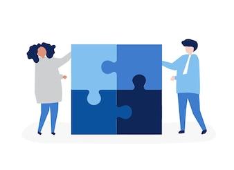 Caractère d'un couple résolvant des pièces de puzzle illustration