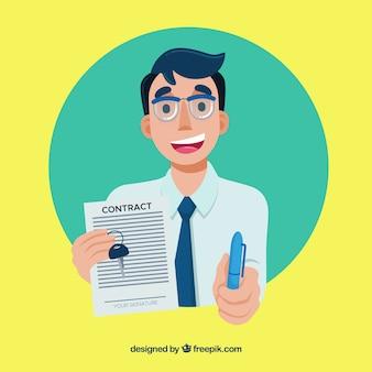 Caractère de vendeur plat tenant le document de contrat