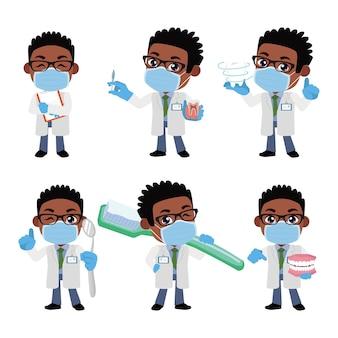 Caractère de dentiste et concept de soins dentaires
