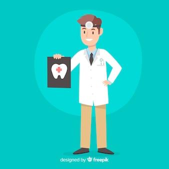Caractère de dentiste plat