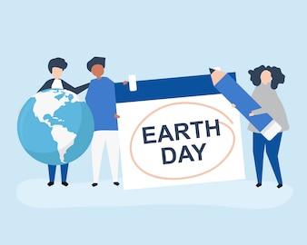 Caractère des gens et illustration du concept de la journée de la terre