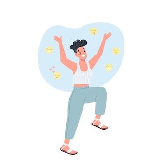 Caractère détaillé de couleur plate féminine joyeuse. expression du bonheur