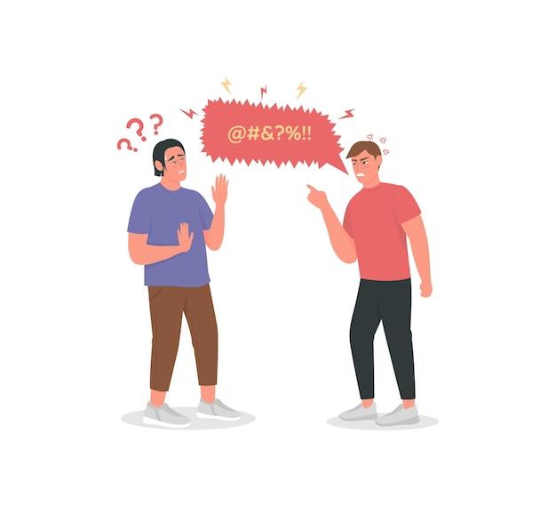 Caractère détaillé de couleur plate d'hommes argumentant