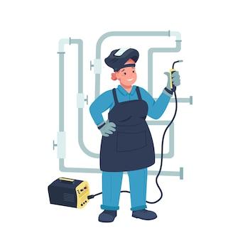 Caractère détaillé de femme soudeur électrique plat couleur. égalité des sexes. joyeuse dame travaillant avec équipement électrique isolé illustration de dessin animé pour la conception graphique et l'animation web