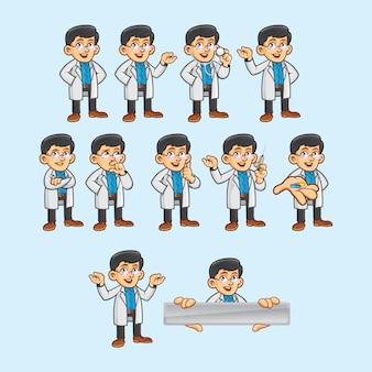 Caractère de docteur dans différentes poses