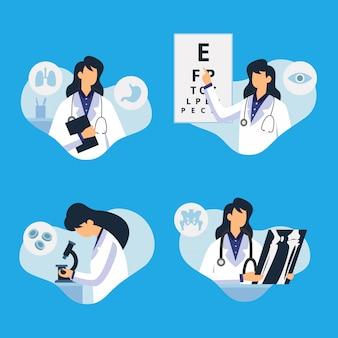 Caractère de docteur faisant des activités médicales