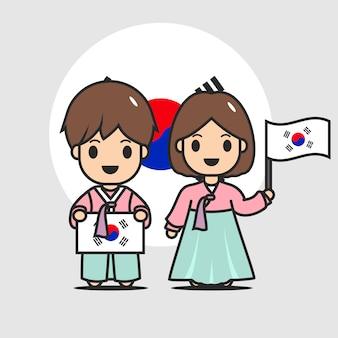 Caractère de drapeau coréen mignon