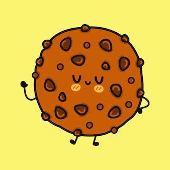 Caractère drôle mignon de biscuits au chocolat