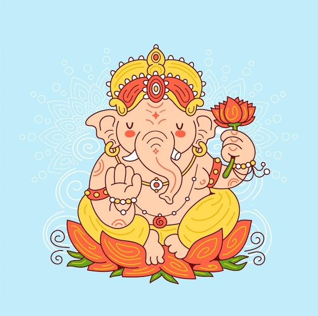 Caractère du dieu indien ganesh. illustration de personnage de dessin animé