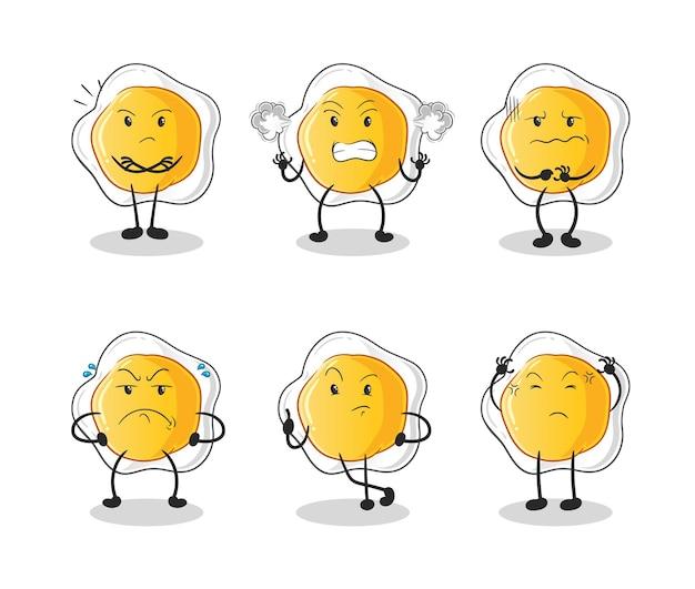 Le caractère du groupe en colère des œufs au plat. mascotte de dessin animé