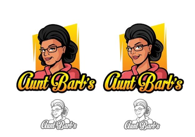 Caractère du logo vectoriel de tante barb