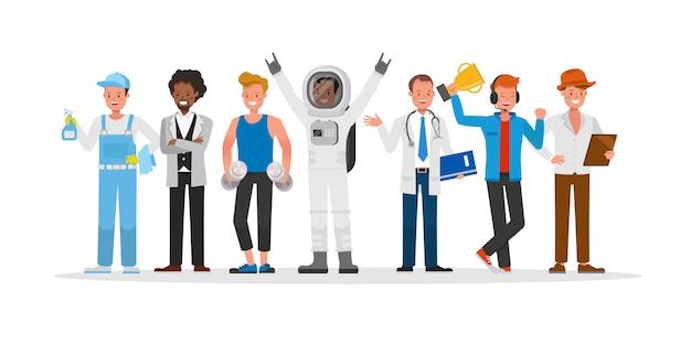Le caractère du personnel de carrière comprend le concierge, l'homme d'affaires, le joueur, l'entraîneur de fitness, l'astronaute et le médecin.