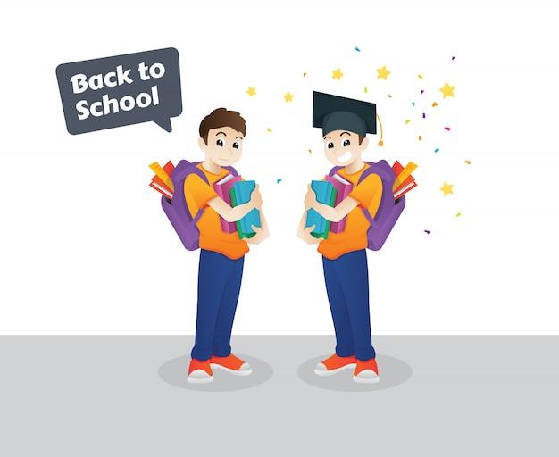 Caractère école primaire aller à l'école