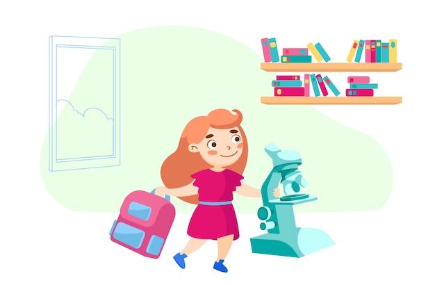 Caractère d'écolière avec sac à dos et microscope à l'école