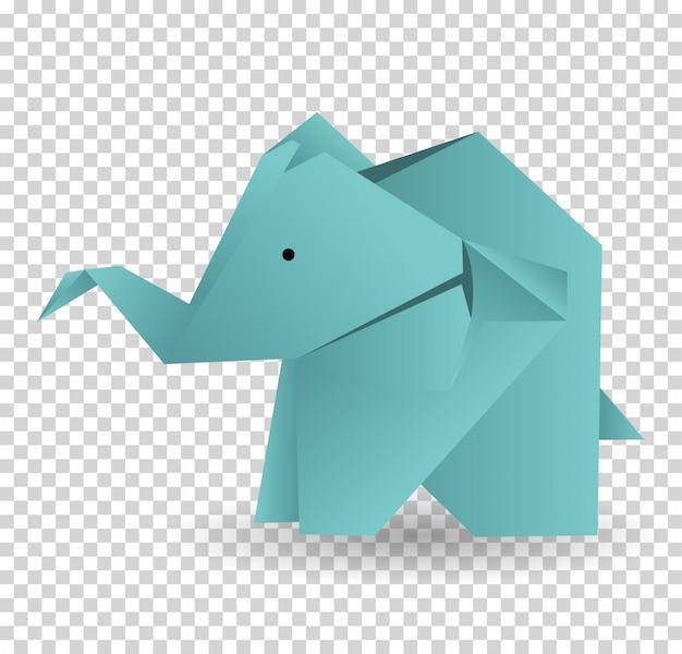 Caractère d'éléphant en origami. illustration de bande dessinée d'éléphant origami