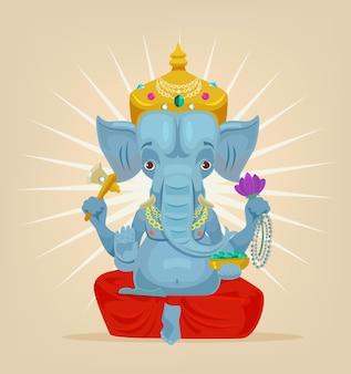 Caractère d'éléphant de seigneur ganesh. illustration de dessin animé plane vectorielle