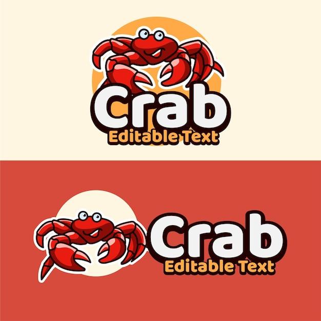 Caractère d'emblème de mascottes de crabe avec un style moderne