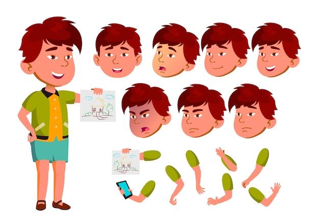 Caractère d'enfant garçon. asiatique. création constructeur pour l'animation. face aux émotions, les mains.