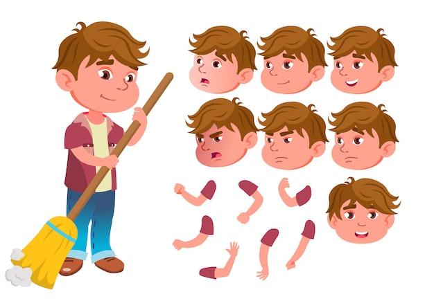 Caractère d'enfant garçon. européen. création constructeur pour l'animation. face aux émotions, les mains.