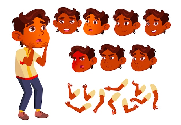 Caractère d'enfant garçon. indien. création constructeur pour l'animation. face aux émotions, les mains.