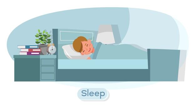 Caractère enfant. présentation en diverses actions avec émotions et sommeil.