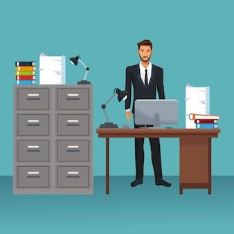 Caractère d'entreprise dans un scénario de bureau