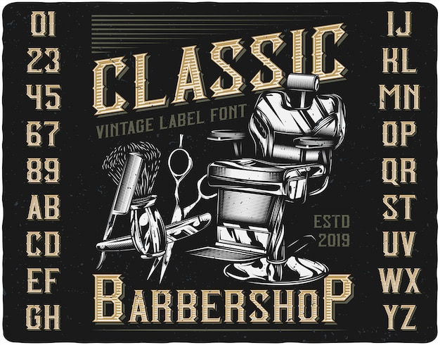 Caractère de l'étiquette classique barbershop
