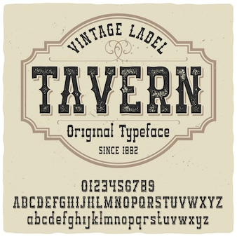 Caractère de l'étiquette de taverne