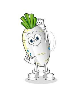Caractère étirement du radis blanc. mascotte de dessin animé