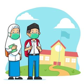 Caractère étudiant islamique de lycée portant un masque facial