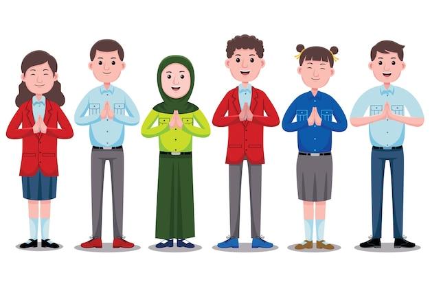 Caractère d'étudiants heureux avec uniforme