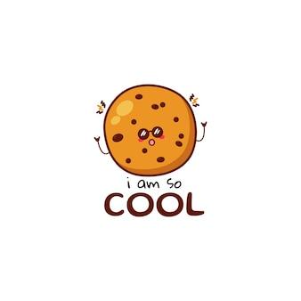 Caractère d'expression cool de biscuits drôles mignons personnage de mascotte de dessin animé dessiné à la main de vecteur