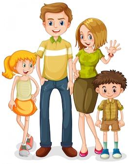 Caractère familial heureux sur fond blanc