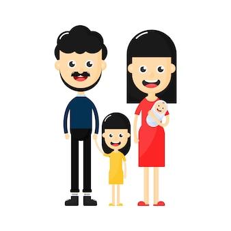 Caractère de famille heureuse sur fond blanc