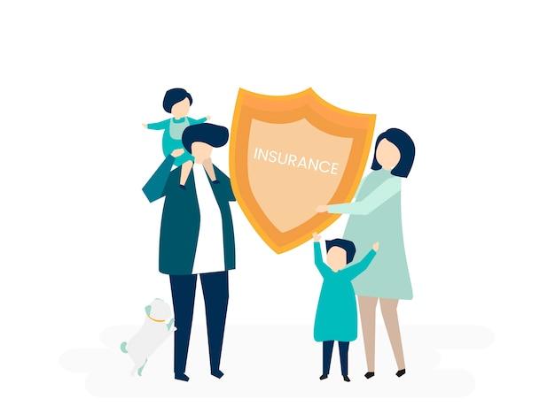 Caractère d'une famille tenant une illustration d'assurance